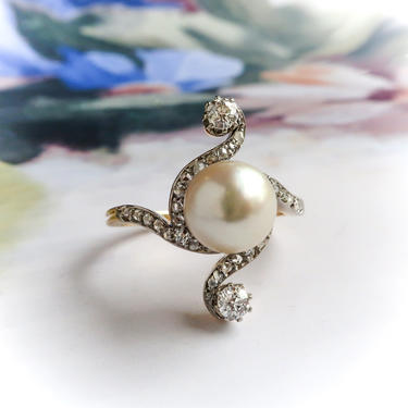 Antique Edwardian Pearl and Diamond Bypass Ring 14K Platinum by YourJewelryFinder