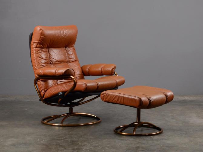 Vintage Leather Recliner Ekornes Stressless Mid Century by MadsenModern