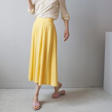 banana yellow pleated skirt / sz S by EELT