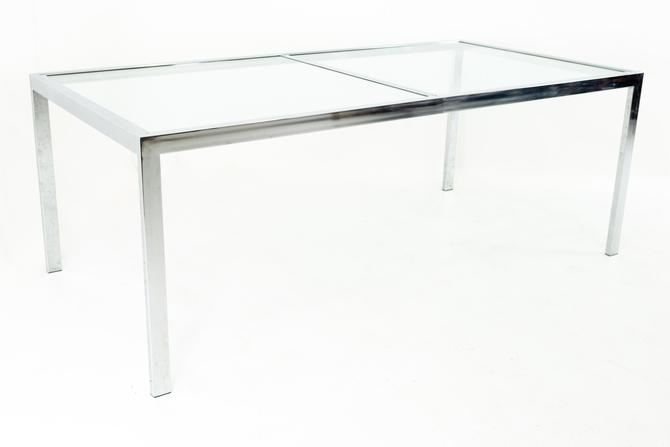 Milo Baughman for Design Institute of America DIA Mid Century Chrome and Glass Expanding Dining Table by ModernHill
