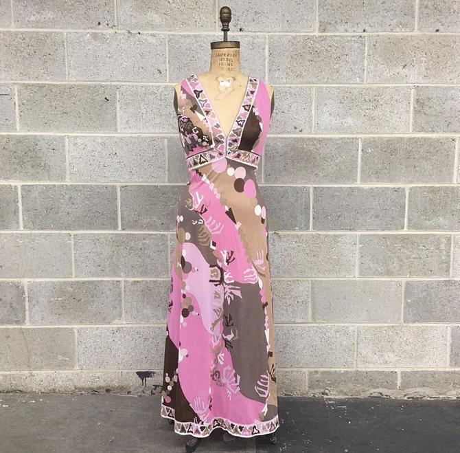 Vintage Emilio Pucci Dress Retro 1970s Psychedelic + Geometric Print + Sheer + Maxi Length + Deep V Neckline + Pink and Brown + Designer by RetrospectVintage215