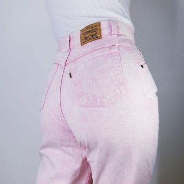 """Minty Vintage 90s Pink Acid Wash Levi's 573 Jeans ~ 28"""" 29"""" High Waist Pinup Jeans ~ Pink Cotton Denim ~ High Rise Relaxed Fit Tapered Leg by SoughtClothier"""
