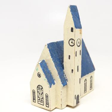 Antique German Wooden Church House, Hand Made Hand Painted Wood for Christmas Putz or Nativity,  Vintage Erzgebirge Germany by exploremag