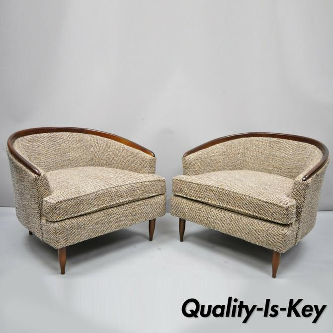 Pair Wide Barrel Back Mid Century Modern Club Lounge Chair After Milo Baughman