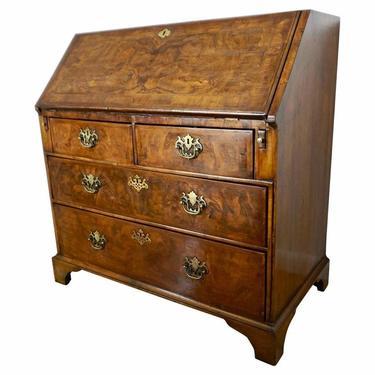 Early 18th Century English Walnut Veneered Stepped Interior Georgian Bureau Desk