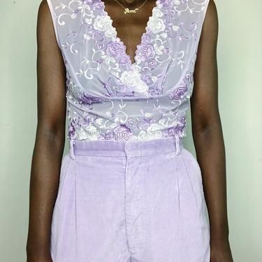 Vintage 90s/Y2K Lilac Pastel Lace Mesh Stretch Blouse