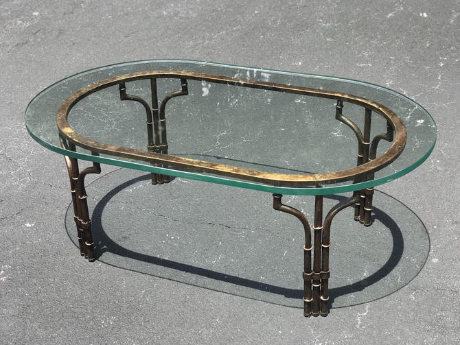 Vintage metal faux bamboo coffee table with heavy glass top by HolbrookBazaar