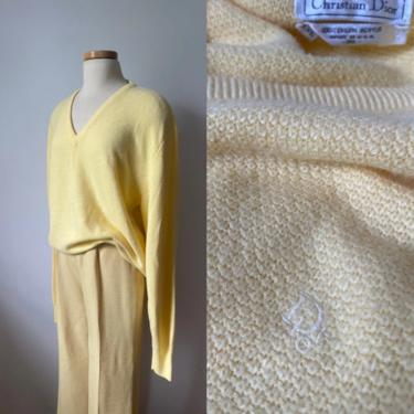Christian Dior Butter Yellow Sweater by DiscoLaundryVintage