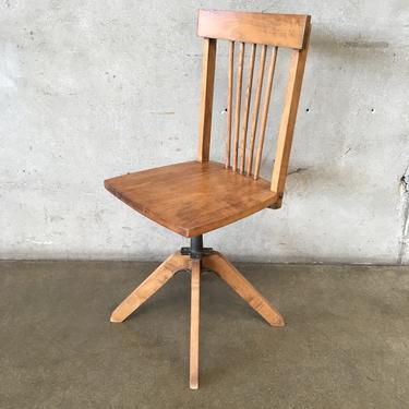 Vintage Secretary Wood & Cast Iron Chair