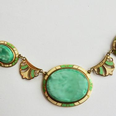 Antique Art Deco Art Glass, Enamel Necklace by LegendaryBeast