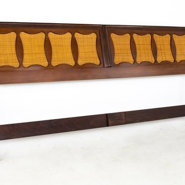 Kent Coffey Greenbrier Style Mid Century Walnut and Rattan King Headboard - mcm by ModernHill