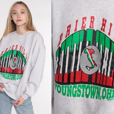 Youngstown Ohio Sweatshirt -- Brier Hill Shirt Crewneck Sweatshirt 80s Graphic Sweater Shirt Slouchy 1980s Travel Pullover Jerzees Large by ShopExile