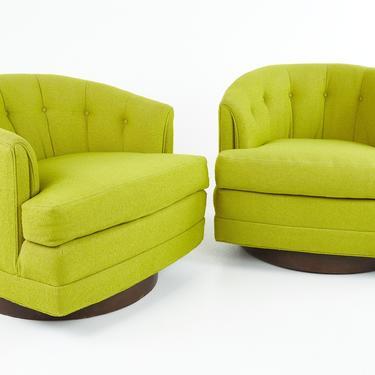 Milo Baughman for Thayer Coggin Style Mid Century Barrel Back Walnut Base Swivel Chair - Pair - mcm by ModernHill