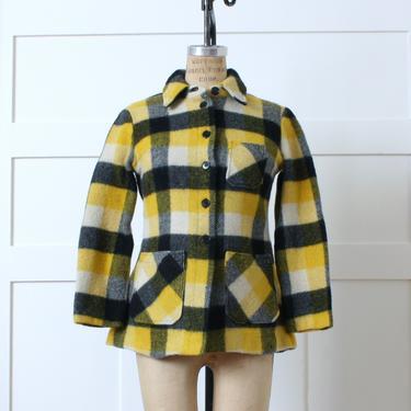 womens vintage 1960s wool jacket • cute yellow & black buffalo plaid coat by LivingThreadsVintage