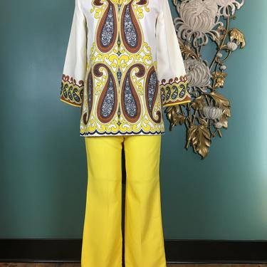 1960s 2 piece set, Alfred Shaheen, pants and top, vintage pant set, yellow paisley, size small, screen printed, mod tunic, flared leg, 26 by BlackLabelVintageWA