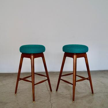 Gorgeous Pair of 1960's Mid-century Modern Bar Stools Refinished & Reupholstered in Teal Woven Tweed! by CyclicFurniture
