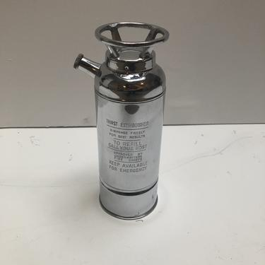 Chrome Cocktail Shaker / Music Box in the Shape of a Fire Extinguisher