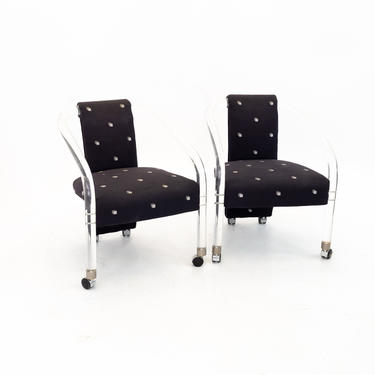 Charles Hollis Style Mid Century Lucite Rolling Lounge Chairs - Set of 2 - mcm by ModernHill