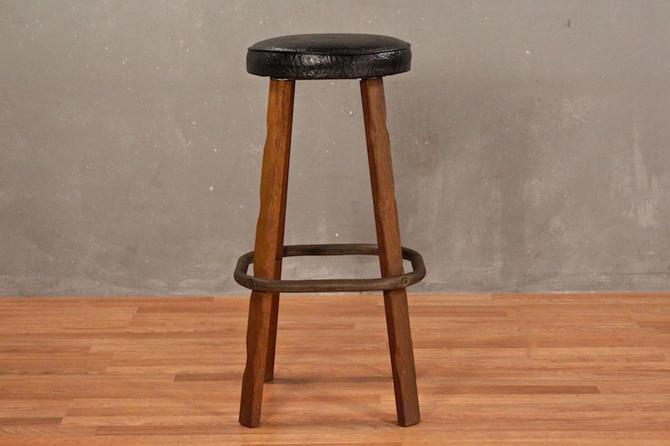Oak & Vinyl Barrel Bar Stool