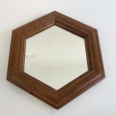 Vintage Hexagon Plastic Mirror Faux Wood Wide Frame Mid-Century Mantique Rustic Framed Wall Hanging Homco Syroco Burwood 1970s 70s Flowers by CheckEngineVintage