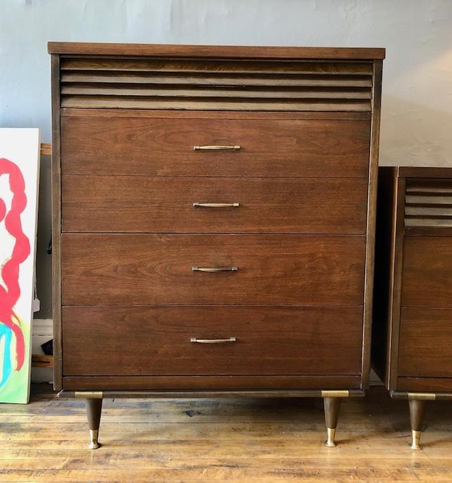 Mid Century Modern Walnut Tall Chest by Basset Furniture Co.-1960's