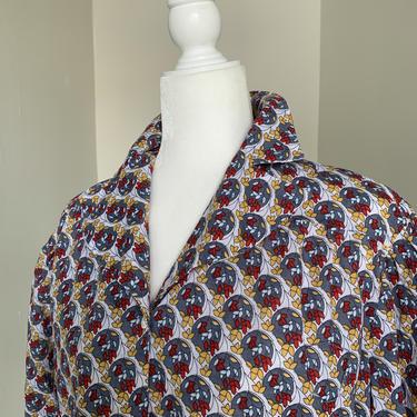 1940s Ladies Cotton Print Blouse Vintage 46 Bust Voluptuous by AmalgamatedShop