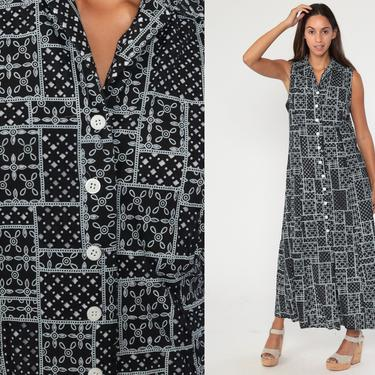 90s Floral Dress Black Patchwork Grunge Maxi Sundress Button Up Boho Print 1990s Bohemian Vintage Sheath Hanky Sleeveless Medium by ShopExile