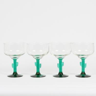 Margarita Glassware, Cactus Glassware, Margarita glasses, Stemmed Glassware, Green Glassware, Desert Glassware, Cactus Margarita, Set of 4 by 1882BlueVintage