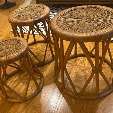 Set of Nesting Vintage Bamboo and Rattan Round Stools or Side Tables by MSGEngineering