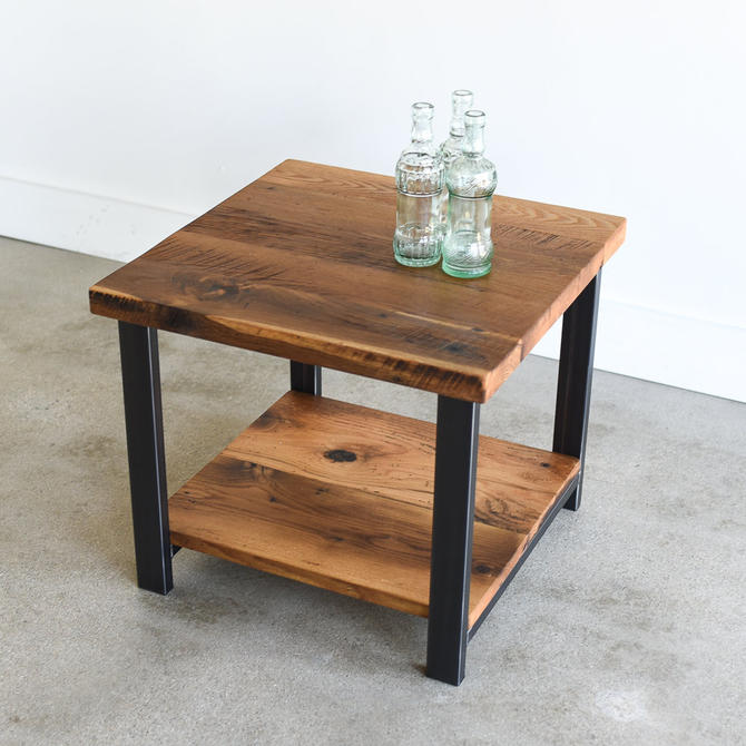 Rustic End Table made from Reclaimed Wood / Nightstand with Lower Shelf / Industrial Side Table by wwmake