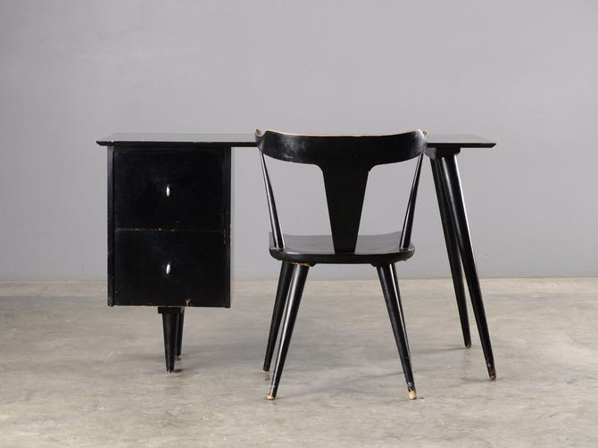 1950's Paul McCobb Desk and Chair Mid Century Modern Black by MadsenModern
