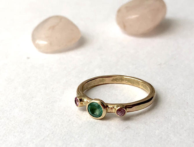 Green and Pink Sapphire in 14k Yellow gold handmade ring alternative engagement ring by RachelPfefferDesigns