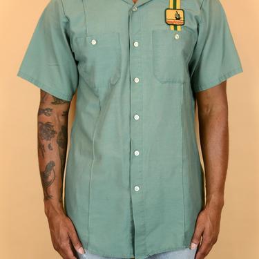 Vintage Green Mayflower Workwear Short Sleeve Camp Collar Shirt by MAWSUPPLY
