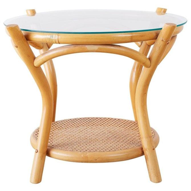 Round Bamboo and Rattan Two-Tier Drinks Table by ErinLaneEstate