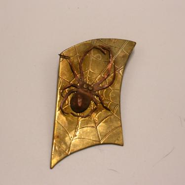 vintage brass and copper spider pin by suesuegonzalas