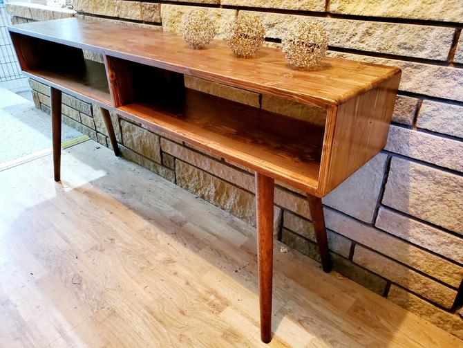 """Custom! 78.5"""" long x 11"""" deep with 26"""" hairpin legs and 1.5"""" thick slab top by OrWaDesigns"""