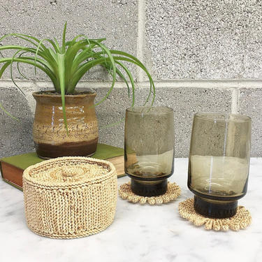 Vintage Coaster Set Retro 1970s Woven + Rattan + Natural Wicker + Set of 8 Coasters + With Holder + Bohemian + Home and Kitchen Decor by RetrospectVintage215