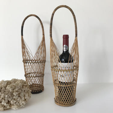 Wicker Wine Basket with Handle, Woven Bamboo Bottle Holder Caddy, Great Vintage Hostess or Housewarming Gift by PebbleCreekGoods