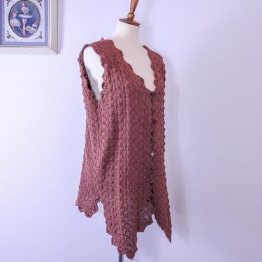 Vintage 1990's Bohemian Hand Loomed Crochet Vest by blackwellhabitat