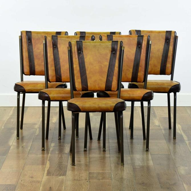 Set Of 6 Vintage Racing Stripe Dining Chairs