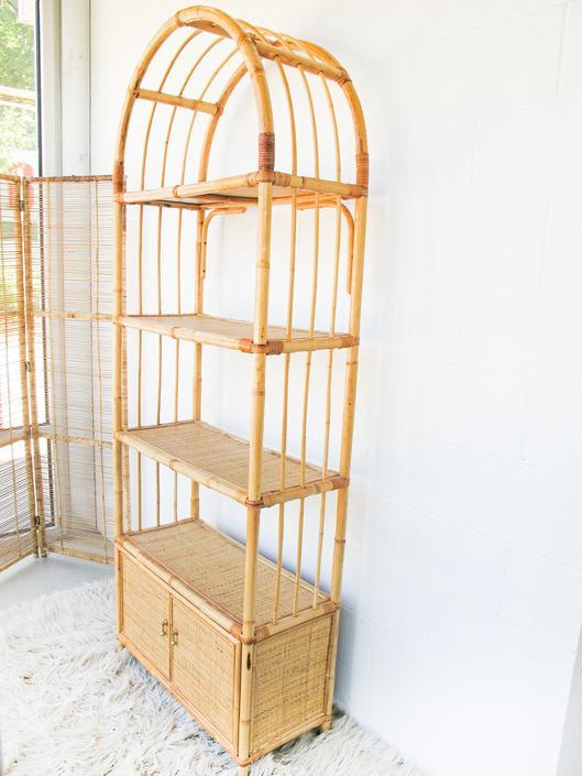 Vintage Italian Bamboo Rattan Shelf with Cabinet by PortlandRevibe