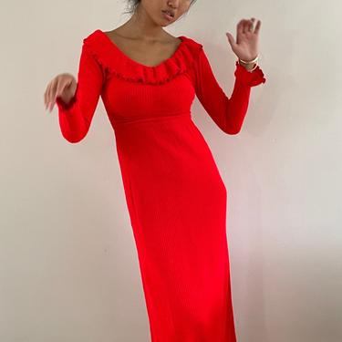 60s knit sweater dress / vintage neon red ruffle collar ribbed knit snug maxi sweater dress   XS S by RecapVintageStudio