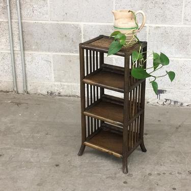 Vintage Bamboo Shelving Unit Retro 1990s Bohemian + 4 Tier + Dark Brown Rattan and Straw Top + Storage Rack or Plant Stand + Home Decor by RetrospectVintage215