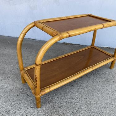 """Restored Single Strand Two-Tier """"Arch"""" Rattan Side Table by HarveysonBeverly"""