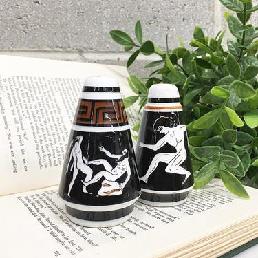 Vintage Salt and Pepper Shakers Retro 1960s Mid Century Modern + Hand Painted + Greek Motif + MCM + Spice Storage + Home and Kitchen Decor by RetrospectVintage215