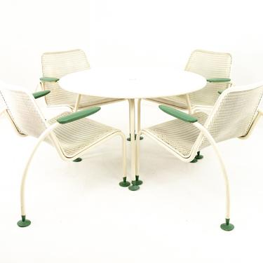 Italian Style Mid Century Rattan and Metal Outdoor Dining Set - Set of 4 Chairs and Matching Table - mcm by ModernHill