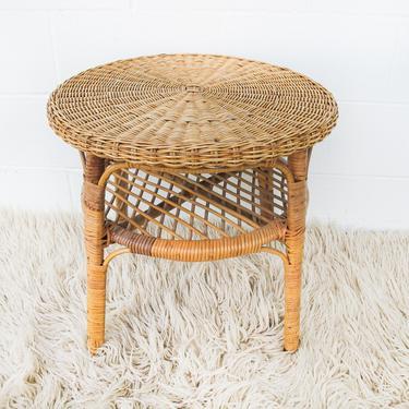 Danish Style Vintage Woven Side Table with Bottom Shelf by PortlandRevibe