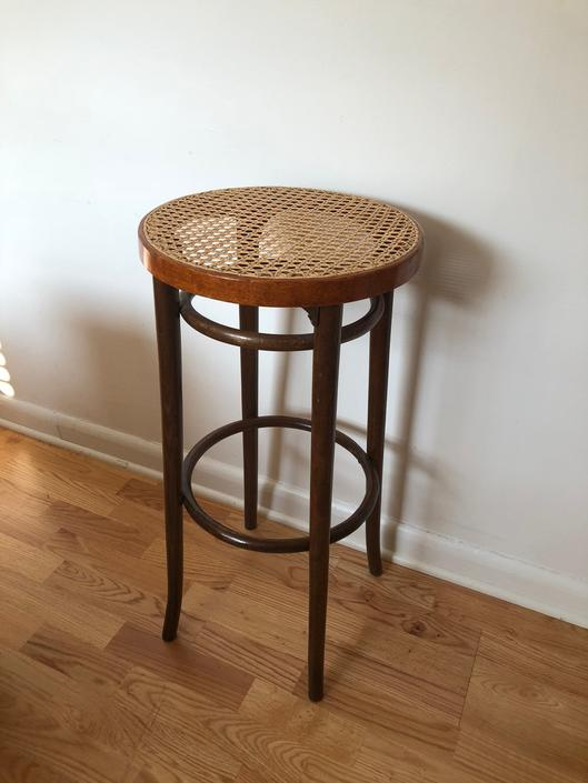 Vintage Rattan Accent Table Stand by BigWhaleConsignment