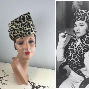 The Seduction Would Commence - Vintage 1950s 1960s Slanted Faux Leopard Toque Hat Stove Top Hat by RoadsLessTravelled2