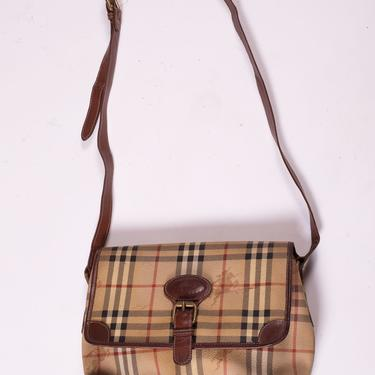Vintage BURBERRY 1990s Nova Check Canvas and Leather Crossbody Bag with Double Interior Pockets Y2K Logo Plaid Burberry's by backroomclothing